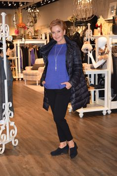 November 2015 The featherweight puffer jacket from Eileen Fisher looks great to race about when doing errands. Box knit tunic top and ankle length crepe pant finish this look.