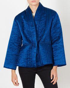 7edae3d8e168 Caron Callahan Tao Quilted Jacket in Indigo Satin Quilted Jacket