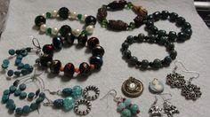 Lot of Bracelets, pierced earrings and pendants