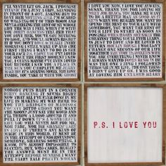 I love this wall art featuring sayings from romantic movies. Perfect for wedding wall art or in the home.
