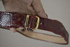 Handmade, Vintage - Pixalia - haine si accesorii faine: Curea din piele de piton rosie
