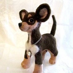 "Chihuahua puppy Chloe made entirely from natural wool. It is very soft and warm! It is 11,4'' (29 cm) high and 9,00"" (23 cm) long with tail. It is waiting for an owner who would take a good care of her! It should not be fed, it just need love. This puppy is the only one of a kind in the whole world."