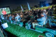TaylorMade hosted a drive-in movie screening—with a twist—during Oscar week. Photo: Eric Reed/AP Images for TaylorMade