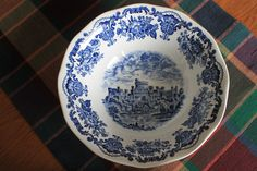 Royal Homes of Britain Wedgwood china blue Round Serving Bowl. $24.99, via Etsy.