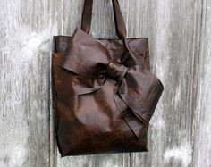 Leather Bow Tote Bag in Dark Chocolate Old World Leather by Stacy Leigh