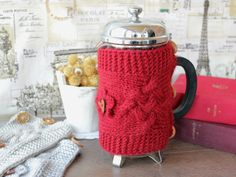 Valentine's Day Gift French Press Cozy French Press Cover Coffee Tea Pot Cozy Warmer Beige Brown Cozy Cover Choose color 1 litre/8-12 cup (20.10 USD) by LovekaKnitting