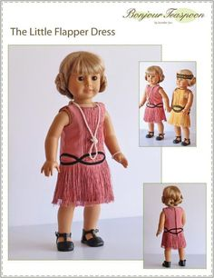 The Bonjour Teaspoon Little Flapper Dress 18 inch Doll clothes pattern. Bring back the roaring 20s with this cute flapper dress featuring a sleeveless dropped waist with princess seams and a slightly flared skirt.
