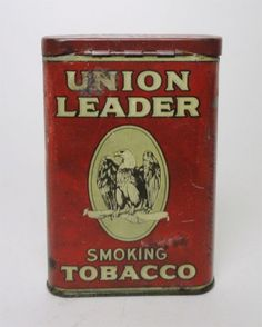 Claudia's Bargains offers for sale - Vintage Union Leader eagle pocket smoking tobacco tin with hinged lid
