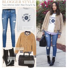 Blogger Style-Fuzzy Letterman Jacket+ Alexa Chung for Ag