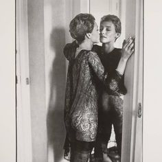 Loulou de la Falaise, Hotel Pont Royale, Paris, 1975. From 'Helmut Newton. Modes et Portraits', Paris, 1984. An early exhibition catalogue of Newton's work, inscribed by Newton himself. Just gone to a new home. #olympiabookfair #rarebooks #photobook #photography #helmutnewton #sold #louloudelafalaise