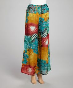 This Teal & Mustard Floral Palazzo Pants - Women is perfect! #zulilyfinds