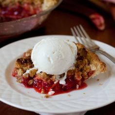 Fresh, sweet strawberries combined with tart rhubarb in a buttery, flaky pie crust and crowned with a sweet, crispy streusel top.