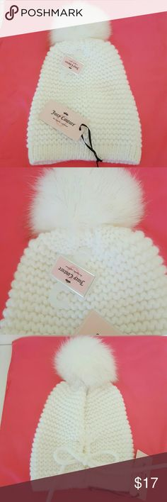 Juicy Couture Hat NWT White  Warm & Soft Winter Hat Faux Fur Pom Pom Tie in back Juicy Couture Accessories Hats
