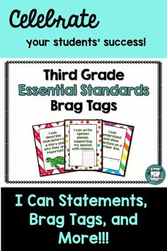 Your students will love seeing their progress using these brag tags and more! Teachers, you will love the I Can Statements for displaying your goals in your classroom. All About Me Activities, Back To School Activities, School Ideas, Learning Goals, Learning Objectives, Teaching Tips, Creative Teaching, Third Grade Writing, Brag Tags