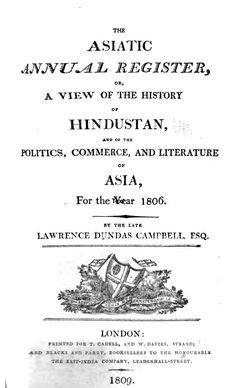 Asiatic Annual Register births, marriages and deaths 1806 and 1807