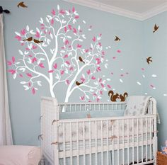 White Large Nursery Tree Kids Bedroom Cute Decor Tree Mural With Lovely Squrriels Birds Removable Vinyl Baby Room Sweet DecorT-1