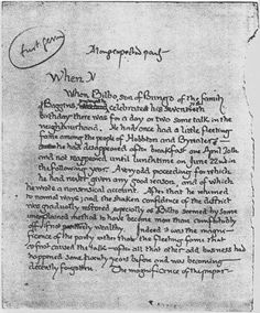J.R.R. Tolkien's original first page for Lord of the Rings, 1937.