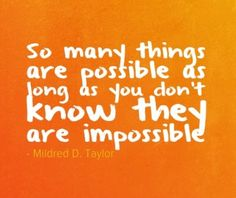 So many things are possible as long as...