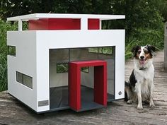 CUBIX  ---  Best Friend's Home, a German company, was inspired by its Australian shepherd, Maya, to create its line of dog houses. Their first creation was called Cubix and done in the Bauhaus style.