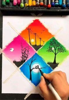 Easy Disney Drawings, Art Drawings For Kids, Art Drawings Sketches Simple, Drawing Ideas, Oil Pastel Drawings Easy, Oil Pastel Art, Art Drawings Beautiful, Diy Canvas Art, Art Lessons
