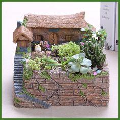 Resin big house Cacti Succulent Plant Pot Flower Planter Mini Garden Design #Unbranded