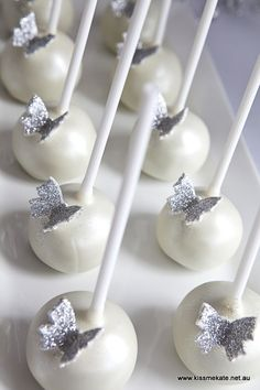 Silver Butterfly Cake Pops.    Styling and desserts by Kiss Me Kate  Printables by Chicabug Found on kissmeKate.net.au