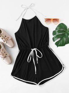 SheIn offers Striped Tape Side Drawstring Waist Halter Romper & more to fit your fashionable needs. Girls Fashion Clothes, Teen Fashion Outfits, Cute Fashion, Outfits For Teens, Preteen Fashion, Style Clothes, Fashion Fashion, Cute Lazy Outfits, Crop Top Outfits