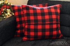 Buffalo Check Plaid Pillow Covers from a Target Dollar Spot Blanket