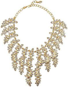 Kenneth Jay Lane 22-karat gold-plated Swarovski crystal necklace.
