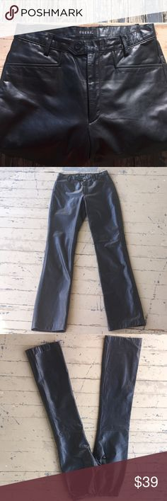 "Guess Leather Jeans LEATHER ME UP PLEASE.....With these GUESS Leather pants❗These are a size 4, w/ 33"" inseam, and 10"" rise.  All in a buttery soft & supple black leather 👌 These are lined w/black satin like  fabric from the waist band, down to mid calf. The 2 front pockets and rear slit style pocket are all functional❗ In VERY good gently worn condition and *from a smoke free home. Guess Jeans Straight Leg"
