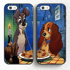 Set of 2 lady and the tramp Cartoon Dog Soft TPU Shell Phone Case For iPhone 6 6S Plus 7 7 Plus 5 5S 5C SE 4 4S Cases Back Cover