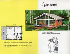 Vintage House Plans, Tiny House Plans, House Floor Plans, A Frame House, Glass Facades, House Blueprints, Winter House, Mid Century House, Simple House