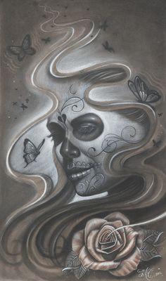 Art, Butterflies, Roses, Black & White, Dia de los Muertos