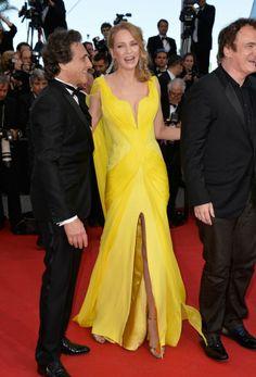 La moda del festival de Cannes 2014. Uma Thurman en Versace.