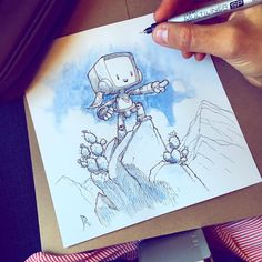 I'm in Phoenix today celebrating the launch of my new book Little Bot and Sparrow! Changing Hands Bookstore in Phoenix, 11am. Come say hi, pick up a book and get it signed by me! - How about an art drop today too? I drew this on the flight down here this morning and will be dropping it somewhere in Phoenix. Details to come. - #phoenix #arizona #littlebotandsparrow #littlebotartdrop #artdrop #inktober #inktober2016 #sketchbook #drawing #inking #robot #sparrow #desert #cactus #kidlit…