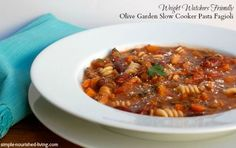 Olive Garden Slow Cooker Pasta Fagioli | Weight Watchers Friendly Recipe