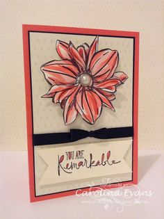 Remarkable You - Layered large Triple Flower by Carolina Evans 2015 NEW Stampin' Up! Catalogue. Watercoloured flower and layered 3 times to create this beautiful large flower. See how click over to my blog. #stampinup #SIP8