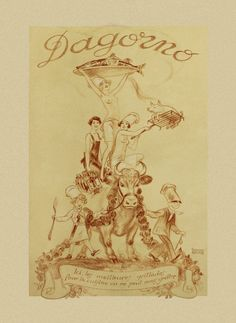 Gorgeous menu cover created for the Parisian restaurant D'Agorno by late 19th century French artist Édouard Debat-Ponsan. Archival prints from $20.00