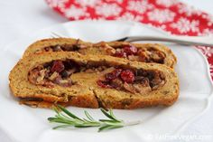 Seitan Stuffed with Walnuts, Dried Cranberries, and Mushrooms