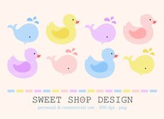 Baby Shower Clip Art, Duck & Whale Animal Clip Art, Royalty Free Clipart, Instant Download by SweetShopDesign, $4.95