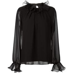ca0d66f69c3 Badgley Mischka Ruffled Details Blouse (€260) ❤ liked on Polyvore featuring  tops