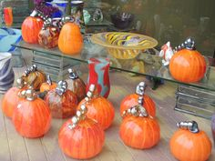 Glass pumpkin patch at Fireworks Glass studios