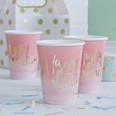 """Dekoration - 8 Trinkbecher """"Happy Birthday"""" in Pink/G - ein Designerstück von Lolima-Shop bei DaWanda"""