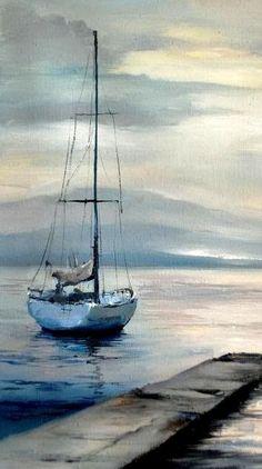 Výsledok vyhľadávania obrázkov pre dopyt aquarelle sea with sailboat Watercolor Landscape Paintings, Seascape Paintings, Watercolor Paintings, Beach Watercolor, Watercolours, Sailboat Painting, Boat Art, Art Pictures, Scenery