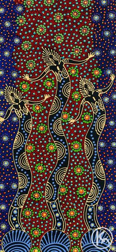 Dreamtime Sisters by Colleen Wallace Nungari. The painting depicts the ancestral spirit figures Irrernte-arenye (Dreamtime sisters) of the Eastern Arrernte Aboriginal people in Central Australia. Aboriginal Dot Painting, Aboriginal Artists, Aboriginal People, Aboriginal Art Animals, Aboriginal Dreamtime, Indigenous Australian Art, Indigenous Art, Aboriginal Art Australian, Arte Tribal