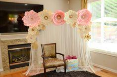 Paper flower backdrop Paper flower template DIY paper
