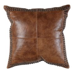 "Evoking the warm, familiar feeling that comes with donning a well-worn pair of boots, this lightly worn 100 percent leather pillow says, ""kick back and relax."" It features four-panel construction on f"
