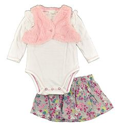 First Moments Baby Girls Pink Fluffy Vest 3pc Floral Corduroy Skirt Set 6M ** Find out more about the great product at the image link.