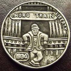 SHANE HUNTER HOBO NICKEL - HOBO TRAIN - 1934 BUFFALO NICKEL Old Coins, Rare Coins, Hobo Nickel, Coin Art, Small Stuff, Train Rides, Coin Collecting, Art Forms, Metal Art