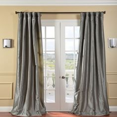 Shop for Exclusive Fabrics Solid Faux Silk Taffeta Graphite Single Curtain Panel. Get free delivery On EVERYTHING* Overstock - Your Online Home Decor Outlet Store! Get in rewards with Club O! 108 Inch Curtains, Faux Silk Curtains, Long Curtains, Grey Curtains, Panel Curtains, Curtain Panels, Silver Curtains, Cotton Curtains, Blackout Curtains